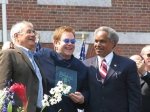 From left, Congressman Barney Frank, Philadelphia Mayor John Street   and Sir Elton John July 4th 2005