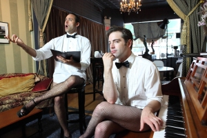 "Dito Van Reigersberg and John Jarboe star in the Bearded Ladies' ""My Dinner with Dito"" (Photo credit: Plate 3 Photography)"