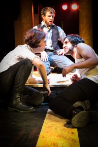 Rachel Gluck as Romeo, Steve Carpenter as Benvolio, and Eric Scotolati as Mercutio in Curio Theatre Company's ROMEO AND JULIET (Photo credit: Rebecca Miglionico)