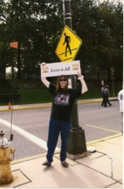 Alanna Berger, co-founder, The Silent witness, at 2003 Phelps protest in Harrisburg